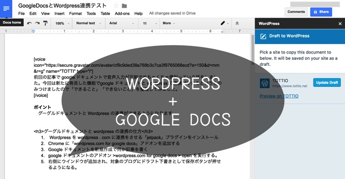 googleドキュメントとwordpressの連携がめっちゃ便利